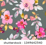 seamless spring delicate floral ... | Shutterstock .eps vector #1349642540