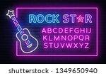 rock music neon sign vector.... | Shutterstock .eps vector #1349650940