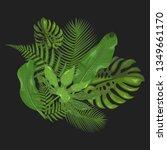 tropical leaves set. baner.... | Shutterstock .eps vector #1349661170
