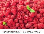 fresh organic raspberries with...   Shutterstock . vector #1349677919