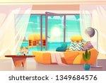 tropical resort hotel room ... | Shutterstock .eps vector #1349684576