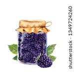 blackberry jam jar in vintage... | Shutterstock . vector #1349724260