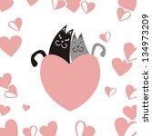cats heart love romantic... | Shutterstock . vector #134973209