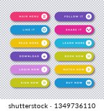 set of vector button flat style ...