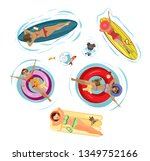 vector summer set sgirls with... | Shutterstock .eps vector #1349752166