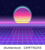 sunrise  sunset. retrowave ... | Shutterstock .eps vector #1349756243