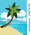 cartoon tropical beach with... | Shutterstock . vector #134976743