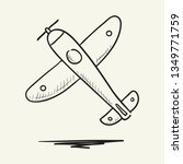 flying airplane sketch icon.... | Shutterstock .eps vector #1349771759