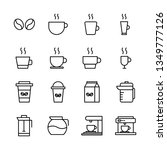 coffee vector line icons set.... | Shutterstock .eps vector #1349777126