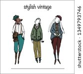 vintage animals fashion | Shutterstock .eps vector #1349793746