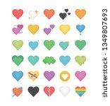set of shape heart emoticon... | Shutterstock .eps vector #1349807693