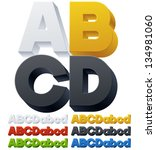 Three-dimensional alphabet. Vector illustration of 3d font characters. Plastic style. Letters abcd