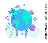 day of earth vector flat... | Shutterstock .eps vector #1349816540