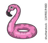 flamingo swim beach ring color... | Shutterstock .eps vector #1349819480