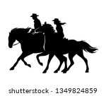 Stock vector horseback cowboy and cowgirl man and woman riding horses wild west theme black and white vector 1349824859