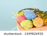 easter eggs in egg cartoon box... | Shutterstock . vector #1349826920