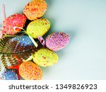 colorful easter eggs on a blue... | Shutterstock . vector #1349826923
