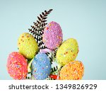colorful easter eggs on a blue... | Shutterstock . vector #1349826929