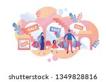 parents with child visit mall...   Shutterstock .eps vector #1349828816