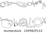 background with utensils and... | Shutterstock .eps vector #1349829113