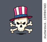 skull with uncle sam's hat... | Shutterstock .eps vector #1349847683