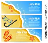 three summer banners. vector... | Shutterstock .eps vector #134985314