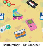 vector 90s themed seamless... | Shutterstock .eps vector #1349865350