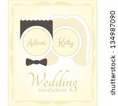 wedding invitation card | Shutterstock .eps vector #134987090