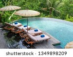 view of the swimming pool water ... | Shutterstock . vector #1349898209