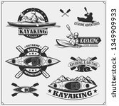 kayak and canoe emblems  labels ... | Shutterstock .eps vector #1349909933