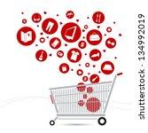 shopping cart design and... | Shutterstock .eps vector #134992019