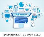 laptop with statistics... | Shutterstock .eps vector #1349944160