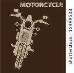aged motorcycle silhouette | Shutterstock .eps vector #13499533