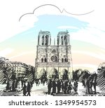 sketch of notre dame cathedral... | Shutterstock .eps vector #1349954573