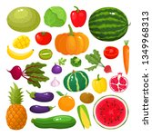 colorful cartoon fruit and... | Shutterstock .eps vector #1349968313