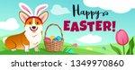 cute corgi dog in easter bunny... | Shutterstock .eps vector #1349970860