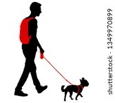 silhouette of man and dog on a... | Shutterstock .eps vector #1349970899