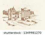 vector sketch of ancient ruins... | Shutterstock .eps vector #1349981270