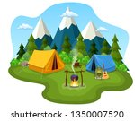 tourist tent on the background...   Shutterstock .eps vector #1350007520