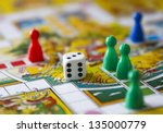 colorful play figures with dice ... | Shutterstock . vector #135000779