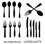 spoon fork knife and chopsticks ... | Shutterstock .eps vector #1350016379