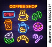 coffee shop neon icons  vector... | Shutterstock .eps vector #1350029639