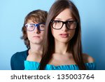 fashionable young couple... | Shutterstock . vector #135003764