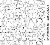 cats. seamless texture | Shutterstock .eps vector #135005276