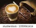 cappuccino drink to go paper... | Shutterstock . vector #1350061616