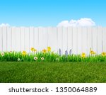 spring flowers and wooden... | Shutterstock . vector #1350064889