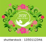 2020 happy new year greeting... | Shutterstock .eps vector #1350112346
