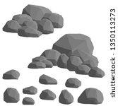 set of gray granite stones of...   Shutterstock .eps vector #1350113273