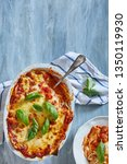 freshly baked lasagne with... | Shutterstock . vector #1350119930