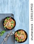 pasta dish with tomato and... | Shutterstock . vector #1350119933